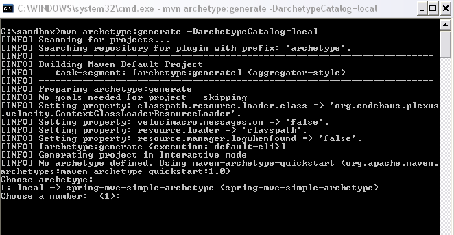 Command Line Archetype Usage